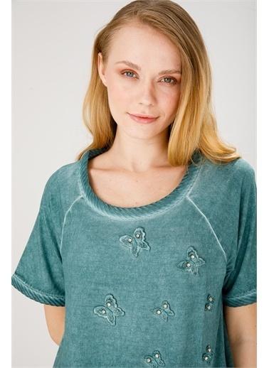 Desen Triko Bluz Yeşil